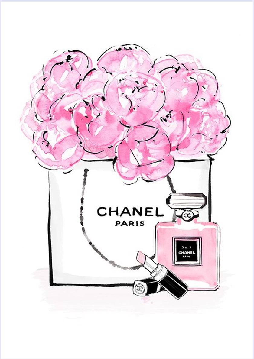 imagens-para-quadrinhos-poster-para-imprimir-batom-perfume-chanel-rosa-blog-dikas-e-diy